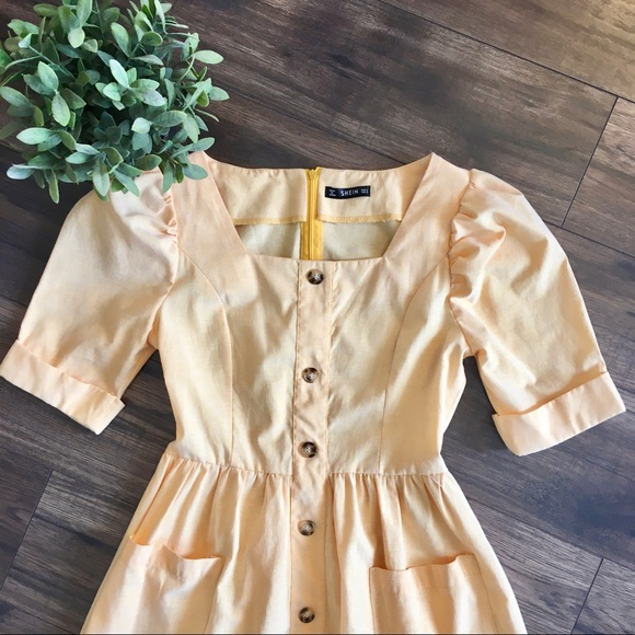 Shein Vintage Style Yellow Button Up Dress Size S